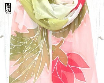 Silk Scarf Handpainted, Gift for her, Long Floral Silk Scarf, Green, Coral Pink Hana Vine Scarf, Takuyo, Chiffon, 11x90 inch, made to order