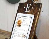 Wood iPad Stand - Cutting Board Style Cookbook Holder - Housewarming Gift - Wedding - Mothers Day - Kindle