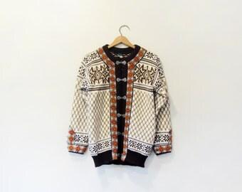 Vintage Dale of Norway / Norwegian Wool Cardigan Sweater Browns / Orange 42 Large