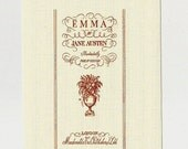 "Clearance Sale! Jane Austen FUSIBLE Applique Fabric Block ""Emma"" Book Cover Illustration Cotton Fabric No-Sew Jane Austen Home Decor & Gifts"
