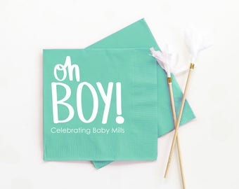 Personalized Boy Baby Shower Napkins Custom Oh Boy Beverage Napkins Baby  Shower Decoration Ideas Gender Reveal