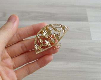 Vintage 80's Oriental Fan Gold Tone Brooch Pin
