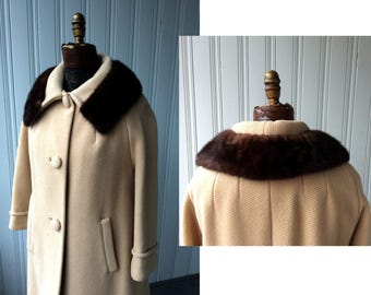 1960s Lilli Ann Cream Wool Coat with dark chocolate mink collar fabric covered buttons braided trim