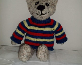 Knitted Bear in Royal Blue/Red/Yellow Sweater
