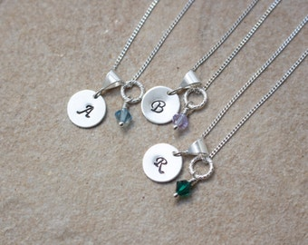 Tiny Initial Necklace with Birthstone , Birthstone necklace , girls jewelry , little girl necklace Gift for a girl , Stamped letter necklace