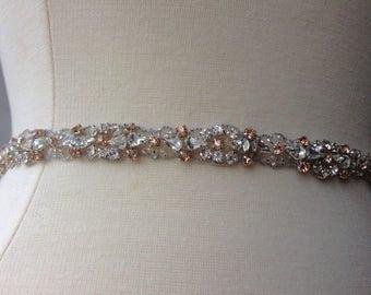 Thin Bridal Belt, Blush Bridal Belt, Rose Gold Bridal Belt, Thin Crystal Wedding Sash
