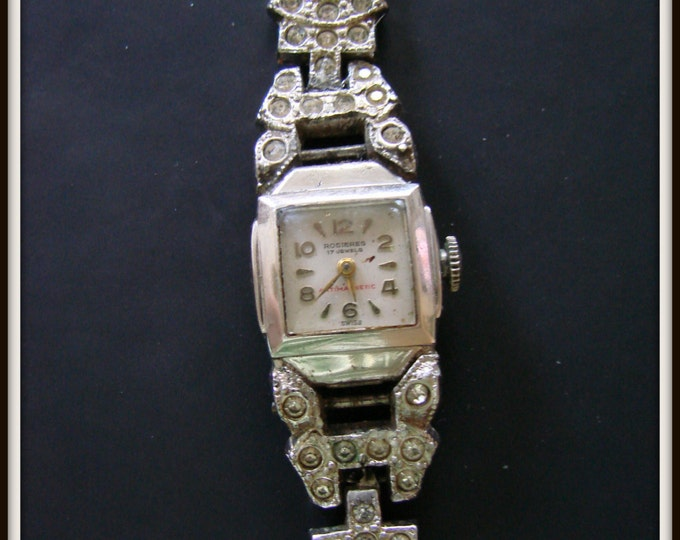 Art Deco Rosieres Swiss Ladies Watch 17 Jewels Antimagnetic Jeweled Antique Jewelry Jewellery