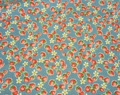 YUWA Atsuko Matsuyama 30's Collection - small strawberry with pin dots in blue, retro fabric, floral fabric, Japanese fabric, fat quarter