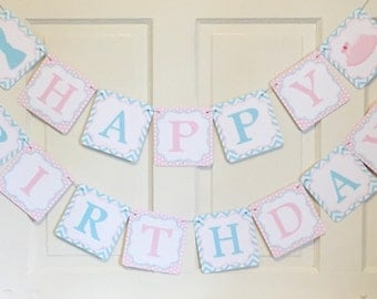 BOWTIES and TUTUS TWINS Happy Birthday Party or Baby Shower Banner - Pink Aqua - Party Packs Available