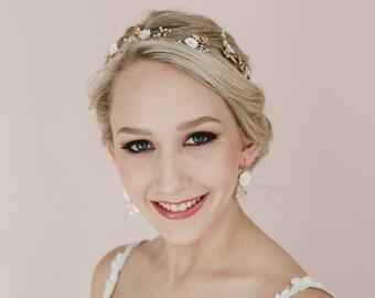 White Cherry Blossom/Sakura Blossom and Gold Brass Leaves Hair Vine. White Bridal hair Vine.