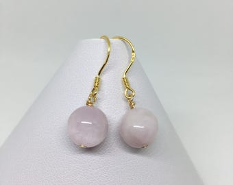 Pink Kunzite Earrings with Gold Plated 925 Sterling Silver, Kunzite Earrings, Gold Earrings, Pink Kunzite and Gold Earrings.