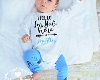 Newborn Take Home Outfit, Newborn Hospital Outfit, Personalized Baby Boy Clothes, Baby Shower Gift, Baby Boy Gift Newborn Coming Home Outfit