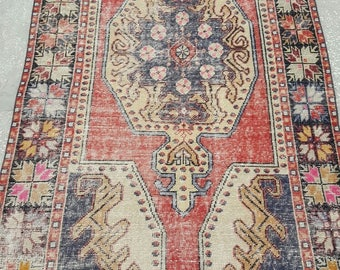 Vintage Oushak Rug / 4 by 8 / Muted / Pastel / Copper-Blue / Boho / Low-Pile / Distressed Rug - 94 in x 50 in
