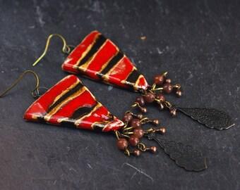 black red earrings striped triangle earrings aventurine cluster flowery teardrop boho bohemian