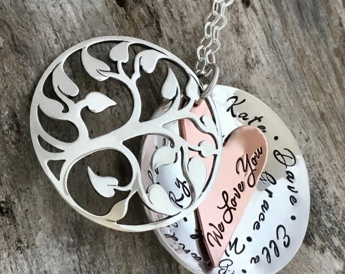 Custom Hand Stamped Jewelry/Unique Sterling Silver Tree Locket/Custom Text/Mothers  Gift/Personalized Name Necklace/Mothers  Gift