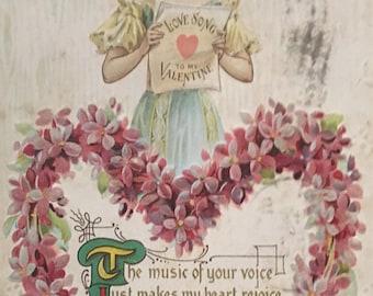 "Vintage Victorian postcard 3 1/2 by 5 matte "" 1900,s color ""embossed"