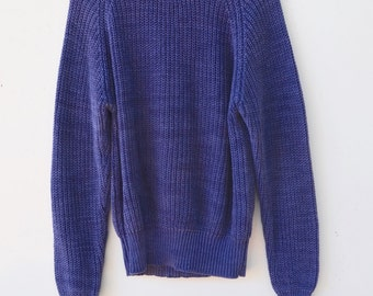 SALE! Vintage L.L. Bean knitted Fisherman Sweater / size men's Medium / Indigo Blue