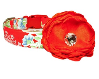 """Red Flower Accessory for 1"""" / 1-1/2"""" Dog Collar"""