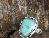 Green Turquoise Ring, Sterling Silver Stone Ring, Flower Pattern Ring Band, Cabochon Ring Size 6, Southwestern Jewelry, Bohemian Jewelry
