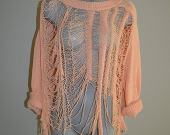 Revamped Peach Shredded Sweater L