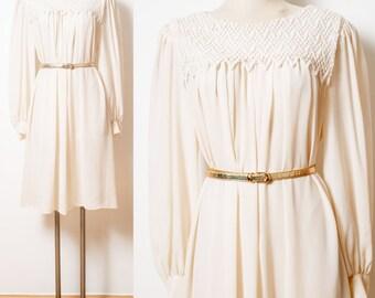 70s Dress,Vintage Ivory Dress, Lace Dress, Vintage sheer dress, Sheer ivory dress, Vintage cream Dress, Bib dress, Secretary Dress - 1XL