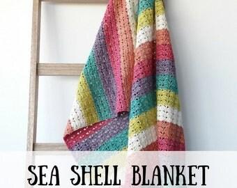 Crochet blanket: Sea Shell Blanket, crochet pattern, Crochet blanket pattern, retro blanket crochet pattern, crochet pattern afghan