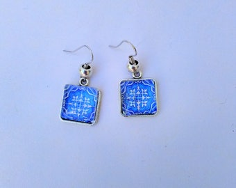 Portuguese tile earrings, Portuguese jewelry, Azulejo Replicas, Blue Azulejos, Blue