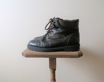 90s Hunt Club Boots Black Faux Leather GRUNGE Ankle Boots Hiking Boots Women's US Size 8