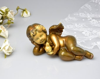 Vintage Angel with Bird, Vintage Cherub Figurine, Decorative Antique Style Putti Angel Statue CherubTable Shabby Home Decor