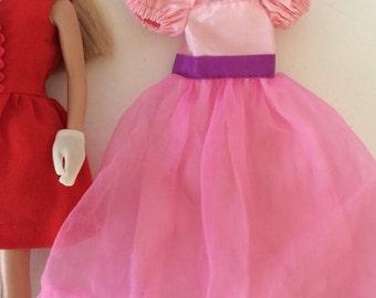 Vintage late 80s BARGAIN Vintage Pink Taffeta acetate Genuine Skipper Dress with Sheer overlay skirting purple sash and metal snap back