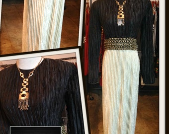 Vintage Mary McFadden Ivory Black Dress Fortuny Vertical Pleating FREE SHIPPING