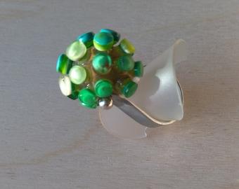 Ring in GREEN glass / Glass ring Green