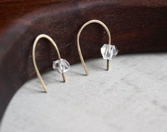 Herkimer Diamond Arc Earrings, Arc Earrings, Minimalist Arc Earrings, Line Earrings, Open Hoop Earrings