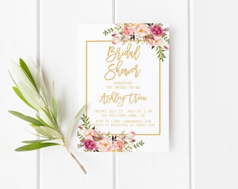 Blush and gold bridal shower invitation, Rose bridal shower invitation, Rustic bridal shower, Elegant invitation, Gold and rose invitation