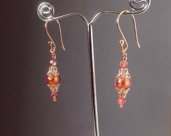 "Venetian Murano glass earrings, orange jewelry, rose gold earrings, handmade jewelry, Victorian jewelry, ""Ornament Tangerine"""