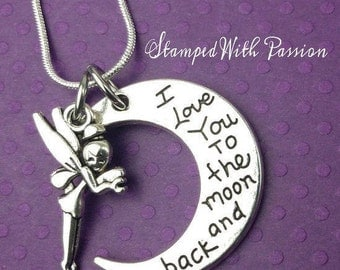 I Love You to the Moon and Back Charm Necklace  - Birthday Gift - Granddaughter - Daughter - girls jewelry - child - Fairy - Christmas gift