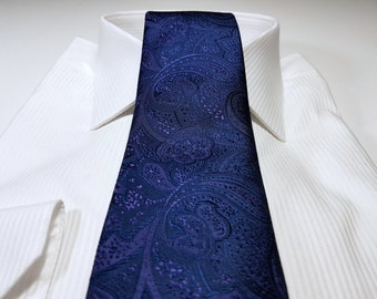 Silk Tie in Paisley with Lapis Amethyst Eggplant Purple and Navy Blue