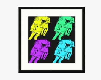Astronaut Art Print Pop Art Astronaut in Yellow Green Purple Blue on black background Outer Space Art Astronaut decor Outer space bedroom