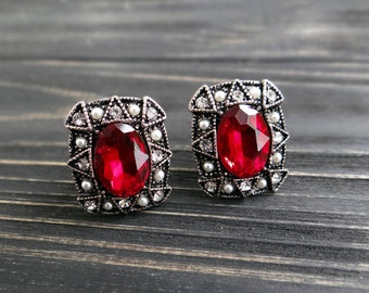 Vintage jewelry for mom bridal earrings red earrings mother of the bride gift vampire gothic jewelry wiccan witch jewelry halloween costume