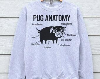 Pug Sweatshirt Clothing Pugs Sweater Dog Sweater Gift For Her Gift For Mom Pug Anatomy Sweatshirts Pug Sweater Pug Jumper Gift For Sister
