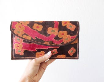 Vintage Tooled Leather Clutch Colorful Leather Purse w/ Wallet