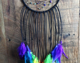 Black Chakra Rainbow Dream Catcher with Crystal Beads for Balancing and a Clear Quartz Pendant