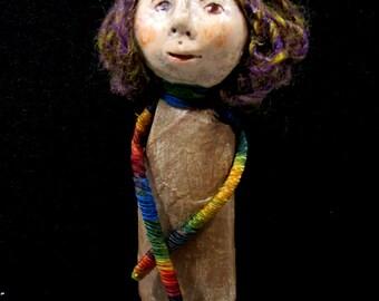 Paper Art Doll OOAK Handmade Wall Art, Paper Sculpture Original Art, Sculpted Clay Face USA Shipping Included