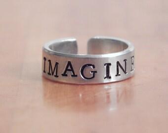 Imagine - John Lennon Inspired - Aluminum Cuff Ring - Inspirational Gift - Motivational word, Gift Under 20