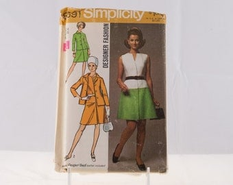 Simplicity pattern 8691, Vintage 1970 Simplicity Pattern, 1970's Designer Fashion Dress and Jacket