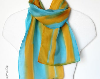 Hand dyed scarf, Multicolor silk, Orange turquoise silk, Art silk scarf, Blue orange scarf, Handpainted silk gift for her, Gift for mom