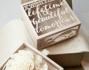 Wedding card alternative- 3D Personalized Box  w/ names, dates & personalized ribbon
