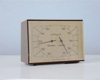 Vintage Temperature and Humidity Gauge, Retro tabletop thermometer, Midcentury weather station