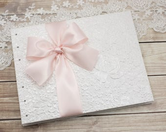 Wedding Guest Book, Bridal Guest Book, White Guest Book, Wedding Book, Lined Pages, Signature Book, Light Pink, MADE to ORDER