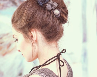 romantic hair accessories - valentine's gift - yarn ball hair pin - long hair - unique hair accessories - spiral pin